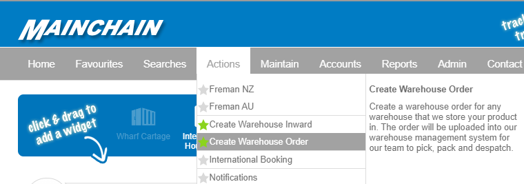 Create Warehouse Outward Dropdown